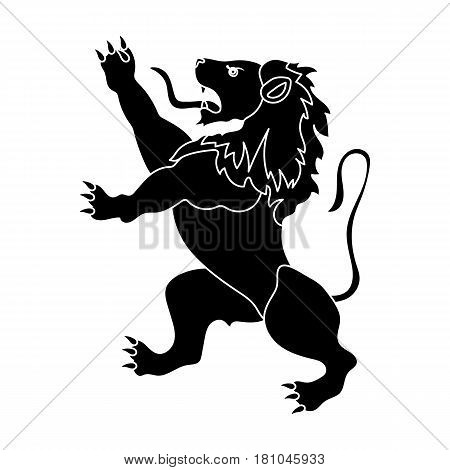 Golden lion symbol of belgium.The dark Belgian wolf. Belgium single icon in black style vector symbol stock web illustration.