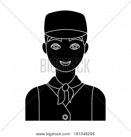 Belgian guy in a cap and waistcoat.The dark Belgian wolf. Belgium single icon in black style vector symbol stock web illustration.