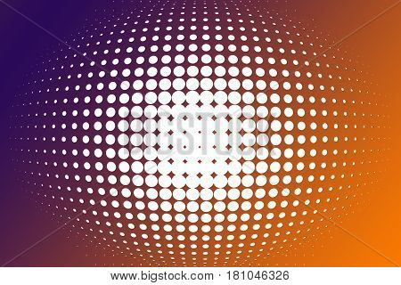 Orange Purple Spherical Gradient From Halftone With Copy Space