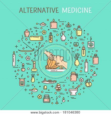 Vector illustration - Alternative medicine. EPS 10 Isolated object