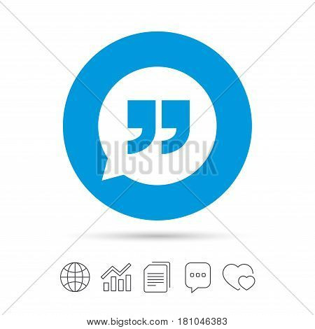 Quote sign icon. Quotation mark in speech bubble symbol. Double quotes. Copy files, chat speech bubble and chart web icons. Vector