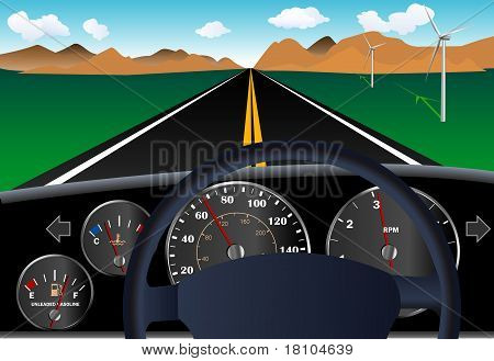 Car dashboard with road