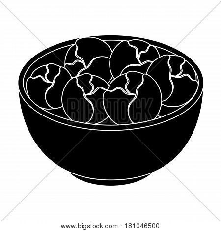 A plate of salad greens.The dark Belgian wolf. Belgium single icon in black style vector symbol stock web illustration.