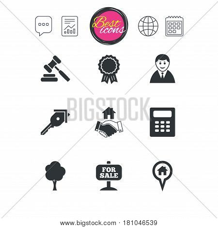 Chat speech bubble, report and calendar signs. Real estate, auction icons. Handshake, for sale and calculator signs. Key, tree and award medal symbols. Classic simple flat web icons. Vector