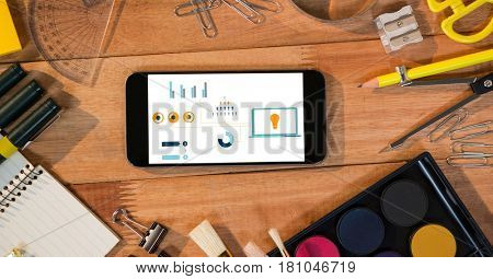 Digital composite of Various graphs on displayed on smart phone surrounded by stationery