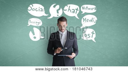 Digital composite of Businessman using tablet computer with speech bubble against green background