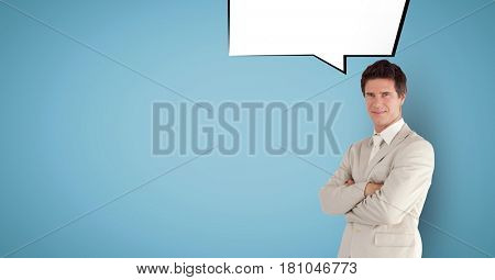 Digital composite of Digitally generated image of businessman with speech bubble against blue background