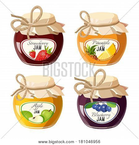 Jars with red strawberry, healthy pineapple, organic apple and fresh blueberry jam vector illustration isolated on white background. Homemade conserved jelly