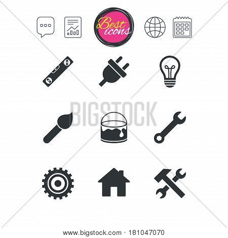 Chat speech bubble, report and calendar signs. Repair, construction icons. Hammer, wrench tool and cogwheel signs. Electric plug, lamp and house symbols. Classic simple flat web icons. Vector