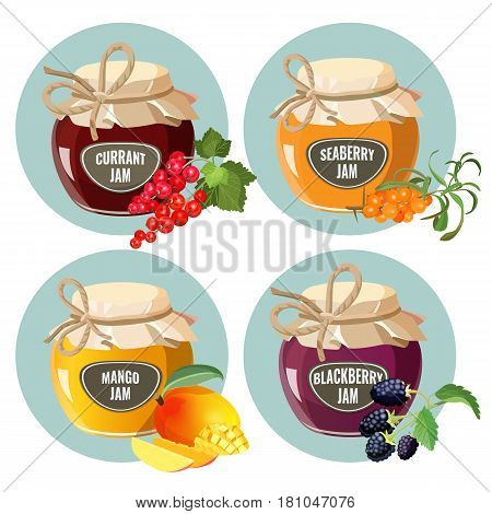 Jars with red currant, healthy seaberry, organic mango and fresh blackberry jam vector illustration isolated on white background. Homemade conserved jelly with realistic fruits sign