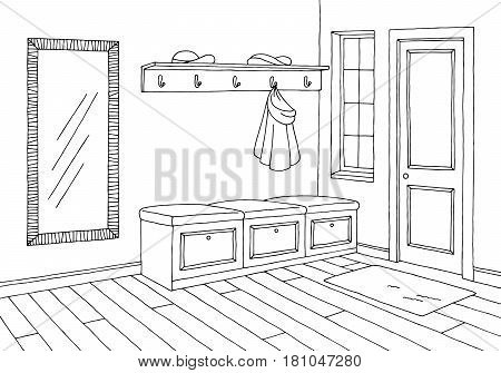 Hallway graphic room black white interior sketch illustration vector