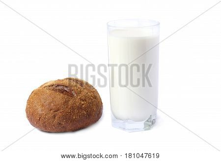 Glass of fresh milk with bread isolated on white background