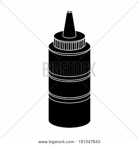 Bottle with mustard.Burgers and ingredients single icon in black style vector symbol stock web illustration.