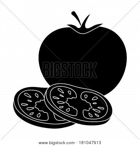 Tomato with a leaf.Burgers and ingredients single icon in black style vector symbol stock web illustration.