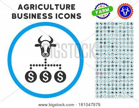 Money Cattle Relations rounded icon with agriculture business icon clipart. Vector illustration style is a flat iconic symbol inside a circle, blue and gray colors.