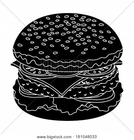 Ready burger with all the ingredients.Burgers and ingredients single icon in black style vector symbol stock web illustration.
