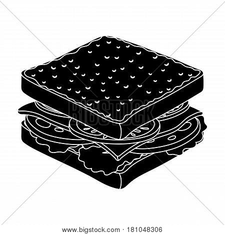 A sandwich with bread and sausage.Burgers and ingredients single icon in black style vector symbol stock web illustration.