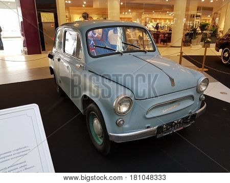 Moscow, Russia - April 1, 2017: Exhibition of retro cars in the Metropolis mall