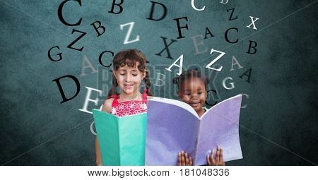 Digital composite of Digitally generated image of girls holding books with letters flying against green background