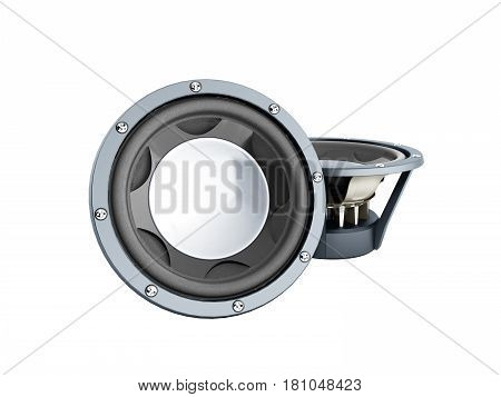 black loudspeakers 3d render no shadow image