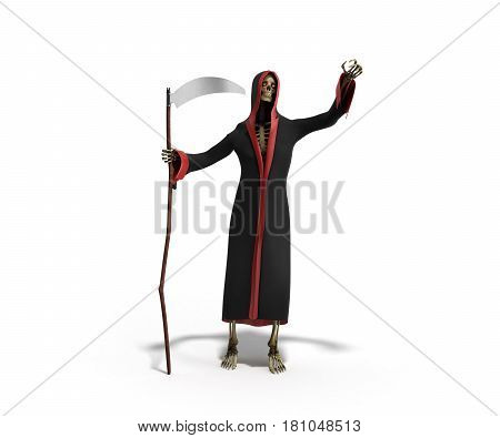 Death With A Scythe 3D Render Against A White Background