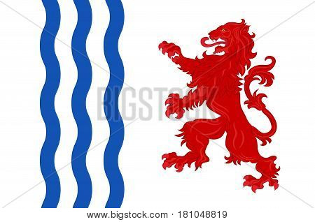 Flag of Nouvelle-Aquitaine is the largest administrative region in France located in the southwest of the country. Vector illustration