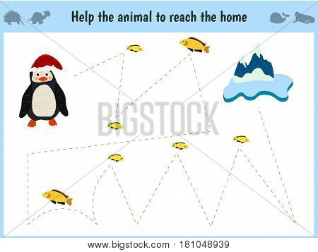 Maze game. Educational children cartoon game for children of preschool age. Help to find the way home to the Arctic penguin and feed him fish. Vector illustration