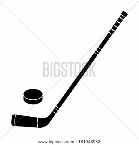 Hockey stick and washer. Canada single icon in black style vector symbol stock illustration .