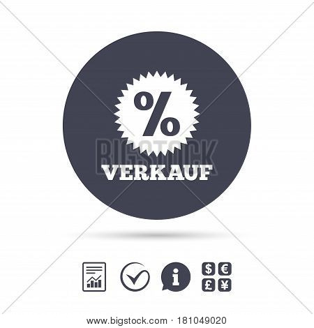 Verkauf - Sale in German sign icon. Star with percentage symbol. Report document, information and check tick icons. Currency exchange. Vector