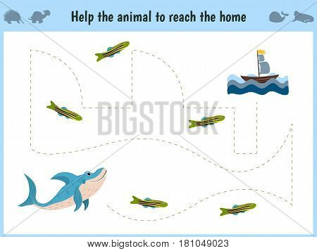 Maze game. Educational children cartoon game for children of preschool age. Help to find the way home in the sea the shark and feed her fish. Vector illustration