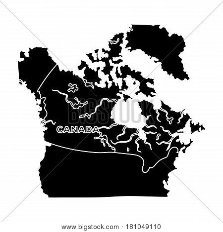 Map of Canada. Canada single icon in black style vector symbol stock illustration .