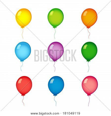Сolorful helium balloons on white. Colored realistic helium vector balloons isolated on white background.
