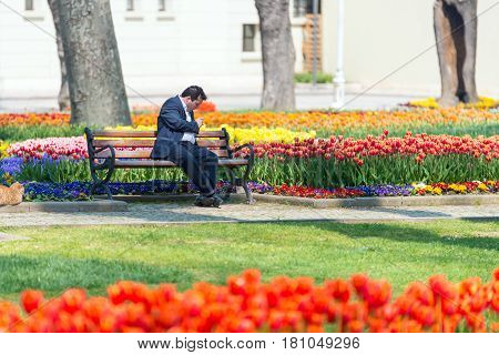 ISTANBULTURKEY - APRIL 08 2015: Tourist in a garden near Sultanahmet squareThe Sultanahmet square is the popular tourist place with the numerous landmarks and museums on April 08 Istanbul Turkey