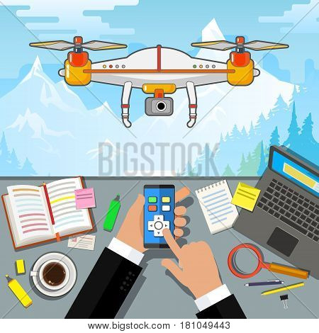 Drone control via phone. Quadcopter aerial drone with camera for photography or video surveillance. Flat design, vector illustration.