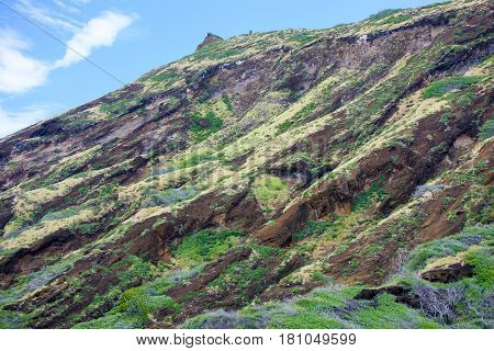 Geology and texture of Koko Crater, Volcanic mass on Oahu Island, Hawaii