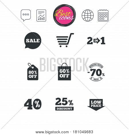 Chat speech bubble, report and calendar signs. Sale discounts icon. Shopping cart, coupon and low price signs. 25, 40 and 60 percent off. Special offer symbols. Classic simple flat web icons. Vector