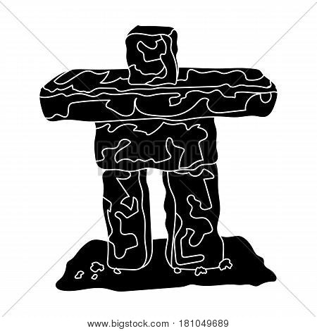 Stone sculpture in canada. Canada single icon in black style vector symbol stock illustration .