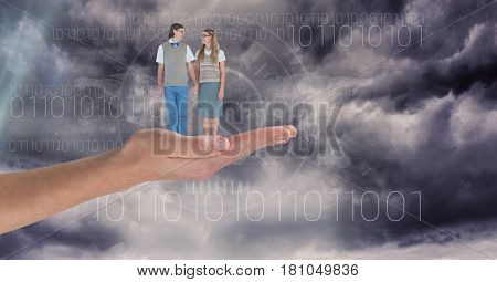 Digital composite of Digitally generated image of man and woman standing on hand against sky