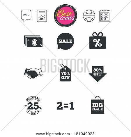 Chat speech bubble, report and calendar signs. Sale discounts icon. Shopping, handshake and cash money signs. 25, 70 and 80 percent off. Special offer symbols. Classic simple flat web icons. Vector
