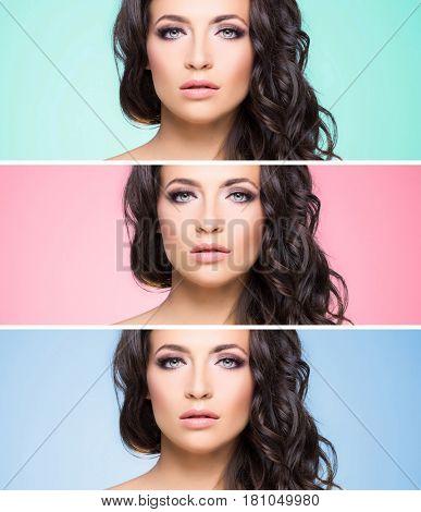 Portrait of beautiful brunette over background. Beauty concept.