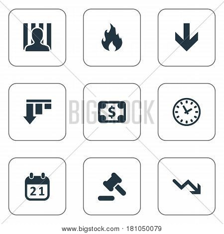 Vector Illustration Set Of Simple Trouble Icons. Elements Agenda, Penitentiary, Fire And Other Synonyms Law, Court And Arrow.