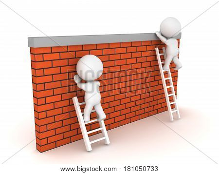Two 3D Characters sitting on different sized ladders. One manages to climb over while the other doesn't.
