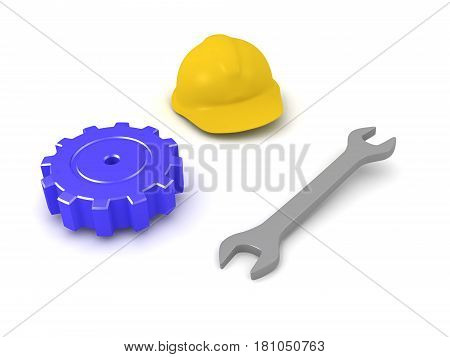 3D illustration of wrench hard hat and mechanical gear. Image depicting items that have to do with construction.