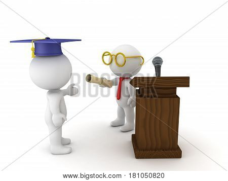 3D illustration of graduation ceremony with student receiving diploma from teacher.