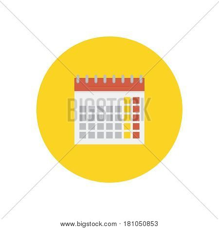Calendar on background vector concept. Time illustration in modern flat style. Color picture for design web site, web banner, printed material. Wall calendar flat icon.
