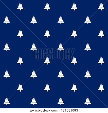 White Ship Bell on Blue Background, Seamless Marine Pattern , Travel and Tourism Concept , Vector Illustration