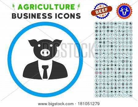 Pig Boss rounded icon with agriculture business pictogram kit. Vector illustration style is a flat iconic symbol inside a circle, blue and gray colors. Designed for web and software interfaces.