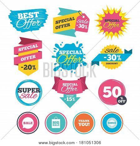 Sale banners, online web shopping. Sale speech bubble icon. Thank you symbol. Bonus star circle sign. Big sale shopping bag. Website badges. Best offer. Vector