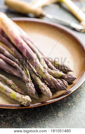 Fresh purple asparagus on plate.