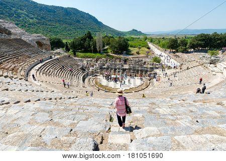Ephesus, Turkey - April 13 : Tourists On Amphitheater (coliseum) In Ephesus Turkey On April 13, 2015